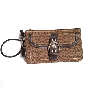 Coach Brown Signature Wristlet Canvas Leather CC